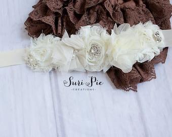 Maternity Sash, Flower Girl Belt, Bridal Belt, Ivory Sash, Ivory Bridal Sash, Shabby Chic Sash, Flower girl Sash, Bridal Sash