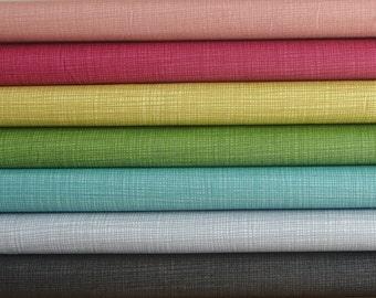 Makower Linea patchwork quilting fabric / Black Grey Teal Green Yellow Pink Fuschia / fat quarter