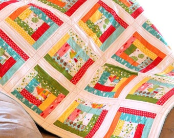 "Ready to ship- Modern Toddler Quilt- Log Cabin Patchwork, Red, Aqua, with Aqua Blue Minky Fabric 40"" x 50"""