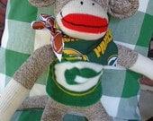 Green Bay Packers  Classic Brown Red Heel Sock Monkey Doll/Handmade