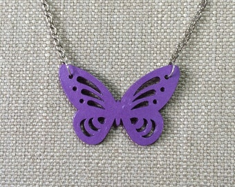 Butterfly pendant made from purple paper