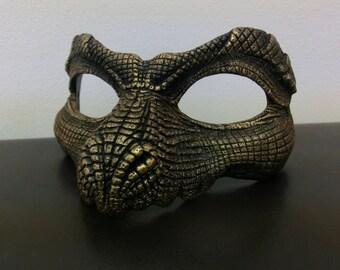 Black and Metallic Gold Reptile Mask