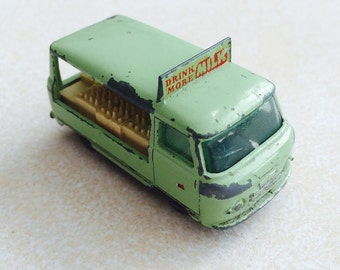 Milk float van: vintage die-cast toy vehicle, made in England, Lesney Commercial Bottle Float, 1960s