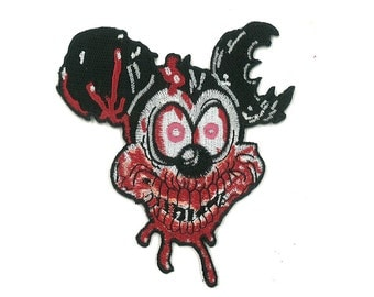 "3.5"" Wide Rabid Mickey Mouse Iron-on / Velcro Patch Disney Disney land Punk Emo Goth Gothic Zombie Horror Princess Disneyland Frozen Disney"