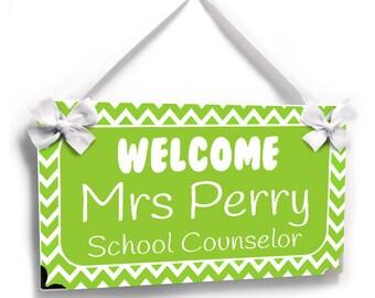 personalized teacher gift green chevron class door sign - P727