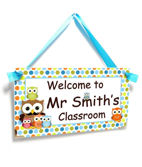 Male Classroom Decor ~ Male teacher door sign owls themed classroom decor welcome