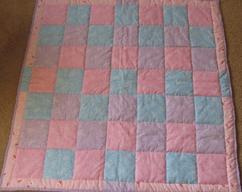 Patchwork Baby Quilt in Pastel Blue, Pink and Lavender