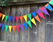 Rainbow Pennant Banner/ Triangle Garland- Red, Orange, Yellow, Green, Blue, Purple