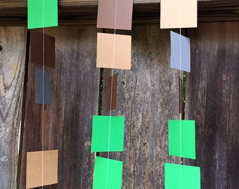 Minecraft (inspired) Square Pixel Garland - Green & Brown