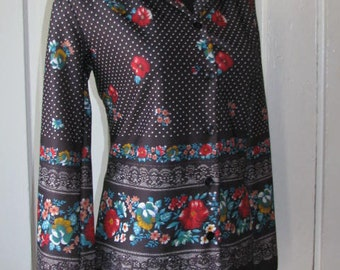 70's FLORAL POLKA DOT Blouse // Deadstock Women's Button Down Shirt Top Size 11/12 Flowers New Old Stock Polyester