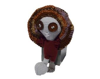Alien, Gray Alien with Slouch Hat, Crocheted Amigurumi