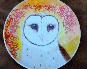 Barn Owl dessert plate