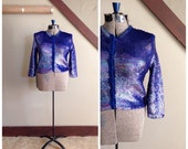 Outer Dark 1950s Blue/Iridescent Sequin Knit Cardigan