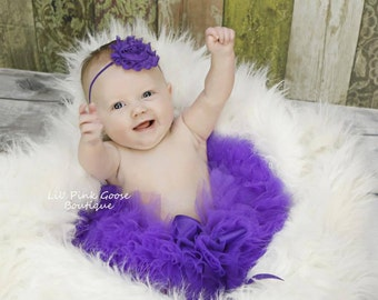PURPLE TUTU and Headband, Newborn Tutu, Baby Tutu, Infant Tutu, Newborn Photography Prop, Photo Prop, Tutus for Children, Birthday Tutu