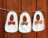 Holiday Gift, Baby Boy Bow Tie Bib. Baby Shower Gift Set. 1st Birthday Gift, Coming Home Outfit, Teething bib, Thanksgiving, New Baby Gift,