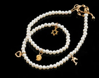 Bracelet, Double Wrape, White small Pearls, G.Filled Charms, Delicate, Necklace for Thin Neck, For Teen Girls, For Women, Valentine