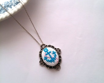 Cross Stitch Anchor Pendant, Summer Jewelry, Ribbon Embroidery Necklace, Mothers Day Gift