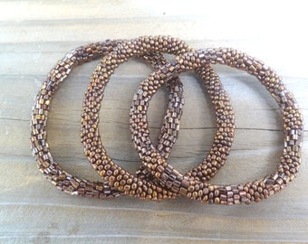 Metallic Copper Handmade Beaded Bracelets Set,Seed Beads,Nepal, Japanese Beads,MB41