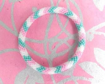 Turquoise Blue, Pink, Matte White Crocheted Bracelet, Czech Seed Beads,Nepal, PB330