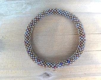 Metallic Peacock Bronze Crocheted Bracelet, Czech Seed Beads,Nepal