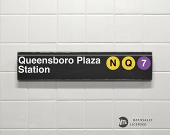 Queensboro Plaza Station - New York City Subway Sign - Wood Sign