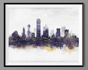 Dallas Skyline Watercolor Dallas Skyline, Dallas Texas Cityscape Wall Art Print