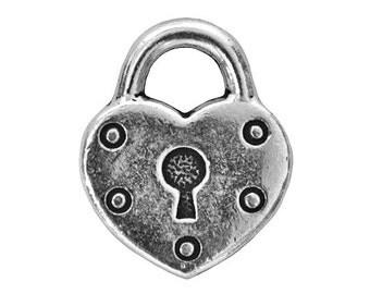 3 TierraCast Heart Lock 5/8 inch ( 16 mm ) Silver-Plated Pewter Drop Charm Pendant