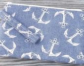 Wristlet Purse, Wristlet Clutch, Cell Phone Wristlet, Wristlet Wallet, Anchor Print, Anchor Fabric, Bags and Purses