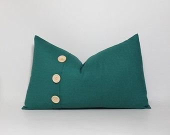 Dark teal pillow cover ~ 12x20 oriental jade linen blend ~ Oblong pillow. Embellished 3 button pleat accent, home decor accent