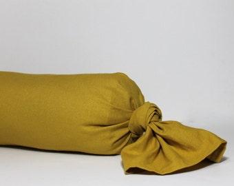 PILLOW COVER, PILLOW Mustard Bolster cover | Neckroll cover. Mustard linen blend bolster wrapper. Neutral home decor. pillow covers