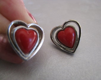 Small Red Heart Earrings - Red Heart Post Earrings - Vintage Studs