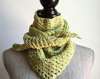 Crochet Cotton Handkerchief Scarf in Yellow Green