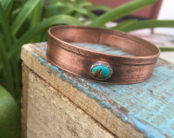 Copper and turquoise bangle