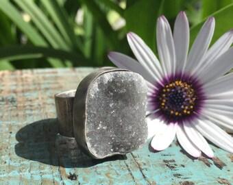 Grey Druzy Ring