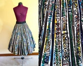 Rare 1950s Vintage Plus Size Hand Painted and Sequined Mexican Ethnic Print Full Circle Skirt size XXL XXXL waist 40