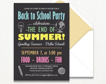 Back to School Invitation End of Summer Party Teacher Open