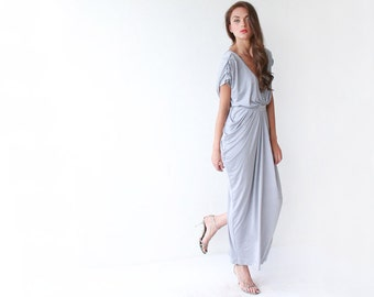 RESERVED DRESSES > Christina > Light gray maxi bridesmaids dress with small sleeves 1008