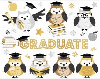 Clipart - Graduatuion Owls / Graduate - Digital Clip Art (Instant Download)