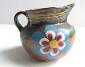 Rustic Blue Flower Pottery Vintage Pitcher Vase