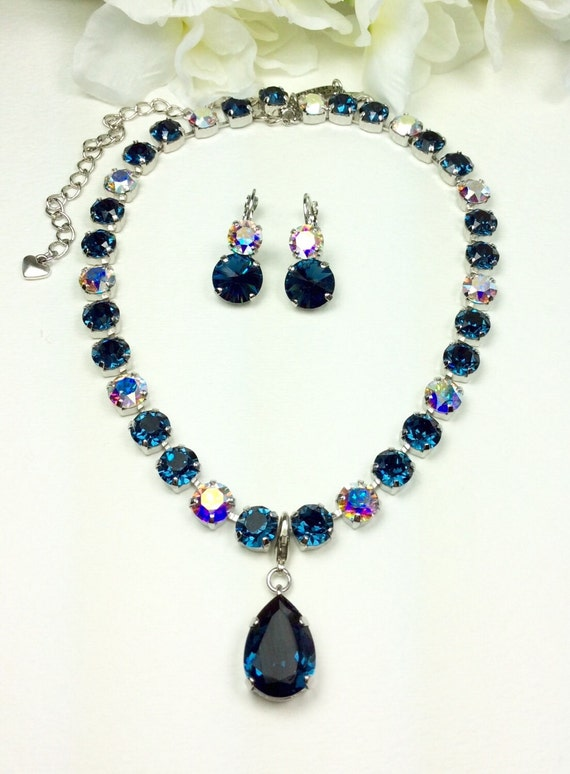 Swarovski Crystal 8.5mm Necklace -  Designer Inspired - Montana Blue - (Navy) and Aurora Borealis- Pure Class!   FREE SHIPPING