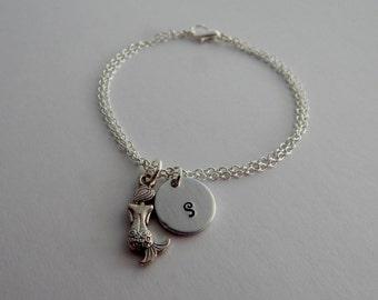 Mermaid Bracelet / Personalized Hand Stamped Initial Bracelet with Mermaid Charm / Beach Bracelet / Nautical Bracelet