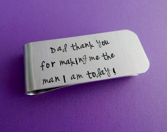 """Father of the Groom Hand Stamped Money Clip / """"Dad thank you for making me the man I am today"""" / Wedding Party Gift / Wedding Keepsake"""