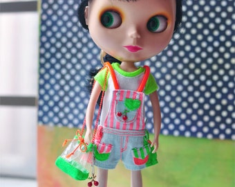 Dollypie fluorescent colored cherry set B  for Blythe 5 Items