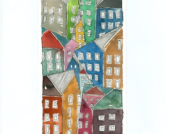 """Townscape , """" Topsy Turvy Town  """",  Watercolor Painting, Wall Art"""