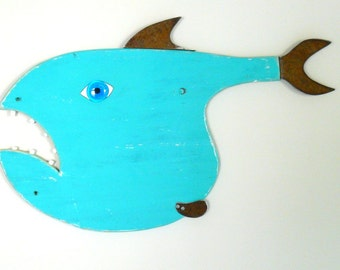 Al CARP-own  #8 Reclaimed wood fish, funky fish, whimsical fish art, wall art