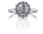 Diamond Wheel Ring with Halo 14K Gold