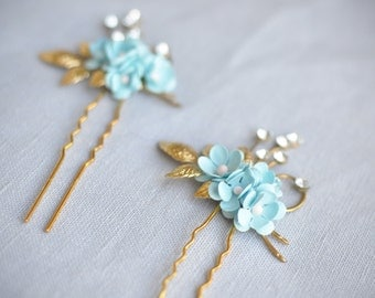 Gold Bridal Hair Pins, Flower Bridal Hair Accessories, Blue and Gold Floral Hair Pins, Wedding Hair Flowers, Blue, Light Blue,Mint,Turquoise