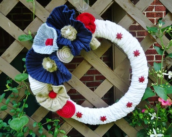 Patriotic Wreath Knitted Red White and Blue Up Cycled Forth of July Labor Day Memoral Day Wreath
