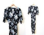 90s Floral Print Jumpsuit / Black Blue Flower Romper / Womens Long Sleeve Jump Suit / Soft Grunge / Rayon V Neck One Piece Small