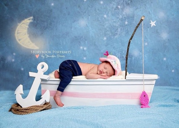 Newborn Girl Fishing Hat Photo Prop By Comfycrochetboutique